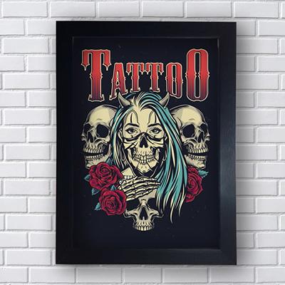 Placa Quadro Decorativo Tattoo Mulher e Caveiras