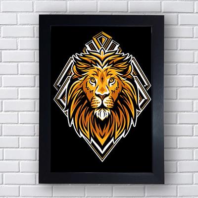 Quadro Decorativo Leão Geométrico